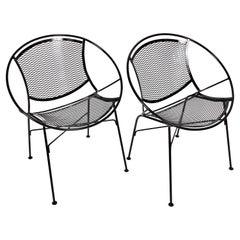 "Pair of Tempestini for Salterini ""Radar"" Black Enamel Iron Chairs, 1950s"