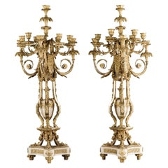 Pair Of Ten-Light Candelabra After Pierre Gouthière, by Henri Picard, Circa 1870