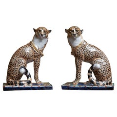 Pair of Terra Cotta Hand Painted and Glazed Cheetahs