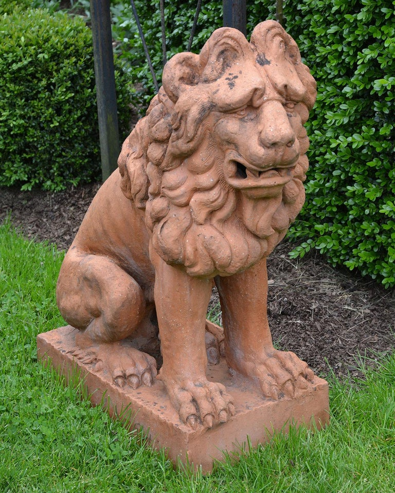 Baroque Pair of Terracotta Lions in the French Style