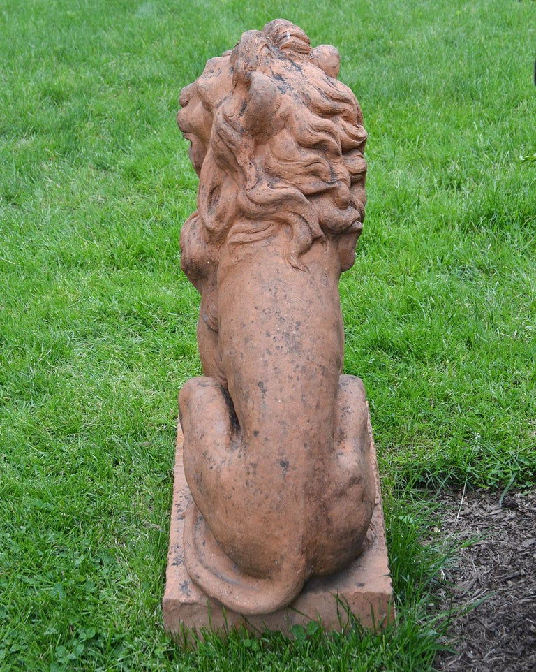 Pair of Terracotta Lions in the French Style 2