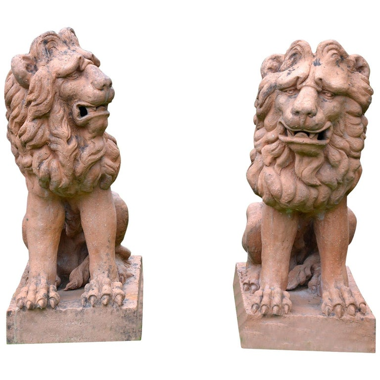 Pair of Terracotta Lions in the French Style