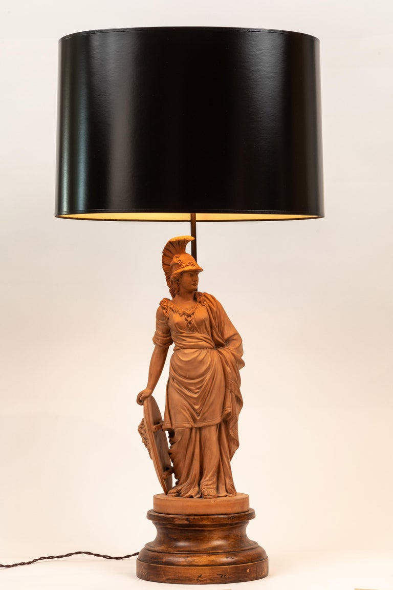 Pair of Terracotta Roman Classical Figures by L. Hjorth as Lamps For Sale 9
