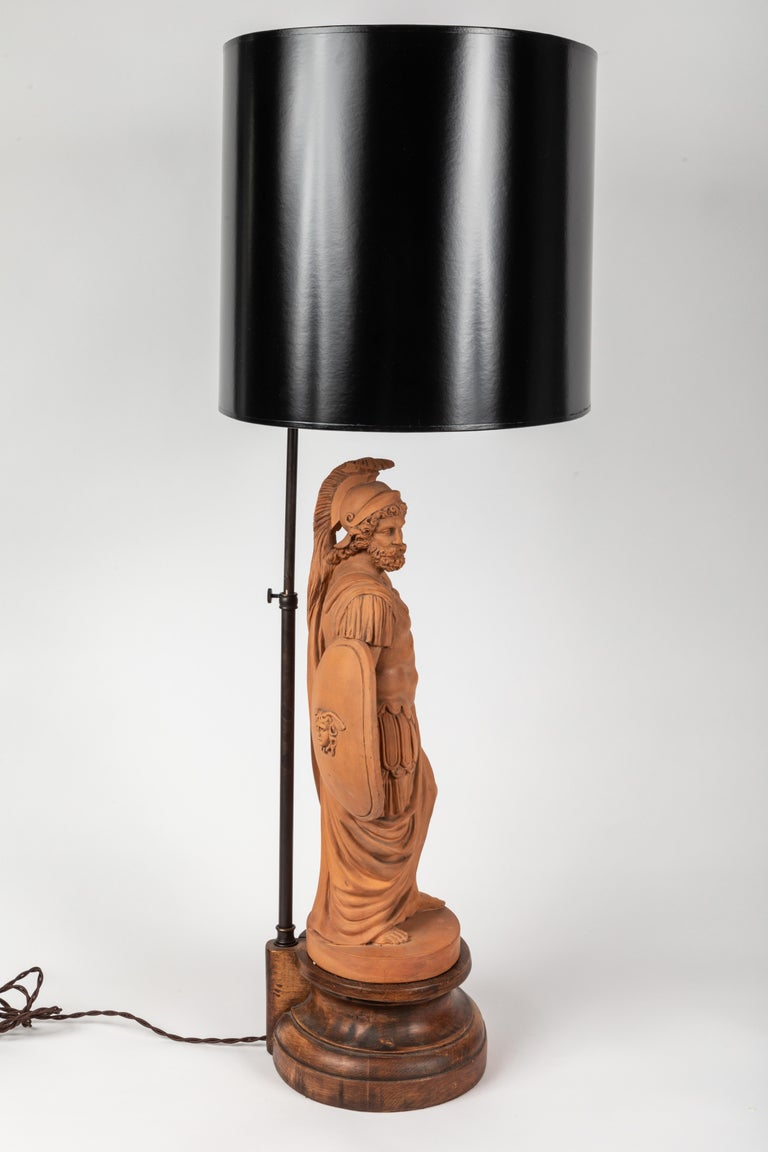 Pair of Terracotta Roman Classical Figures by L. Hjorth as Lamps In Distressed Condition For Sale In Los Angeles, CA