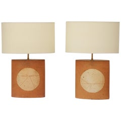 Pair of Terra-Cotta Table Lamps by Roger Capron, circa 1960