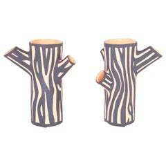 Pair of Terracotta Tree Trunk Form Vases