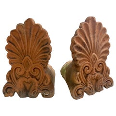 Pair of Terracotta Anthemion Roof Tiles