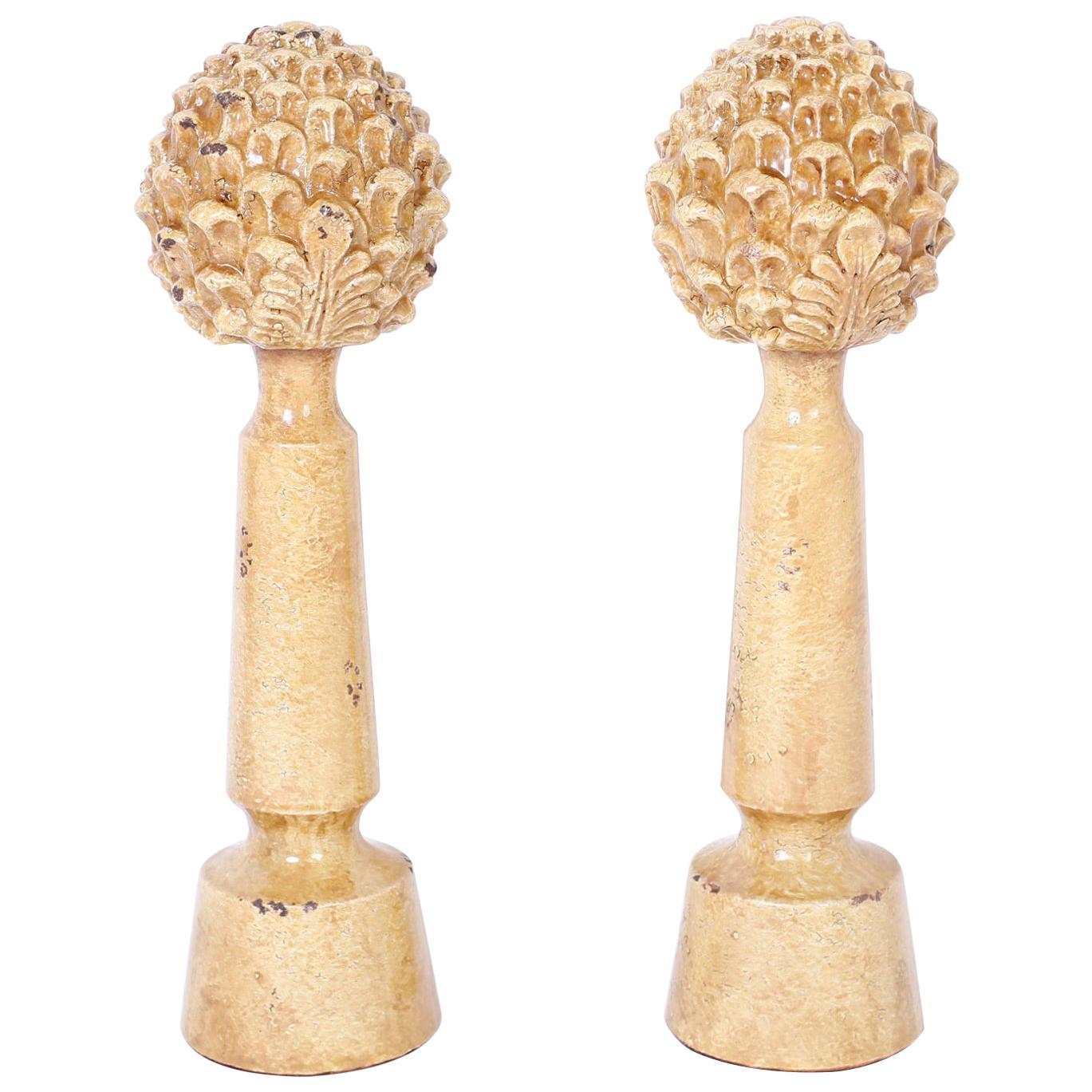 Pair of Terracotta Artichoke Garnitures