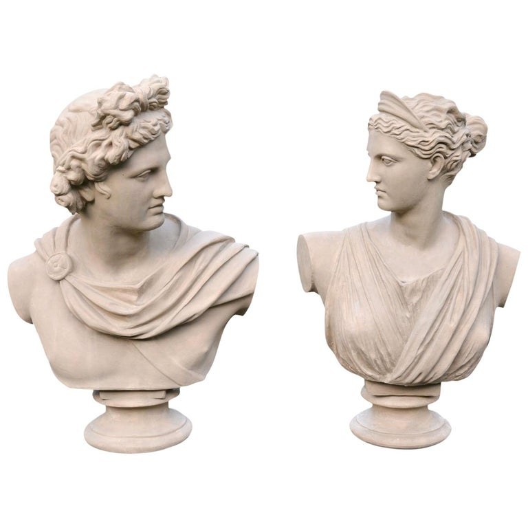 Pair of Terracotta Busts For Sale