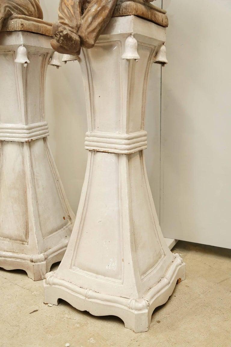 Pair of Terracotta Chinoiserie Figures on Ceramic Columns 4