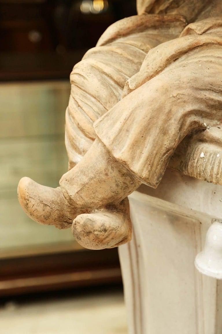 Pair of Terracotta Chinoiserie Figures on Ceramic Columns 5