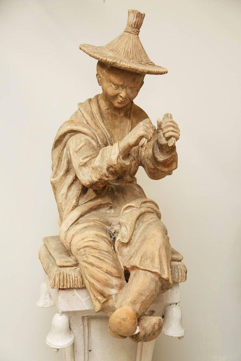 20th Century Pair of Terracotta Chinoiserie Figures on Ceramic Columns