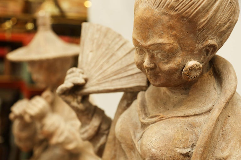 Pair of Terracotta Chinoiserie Figures on Ceramic Columns 2