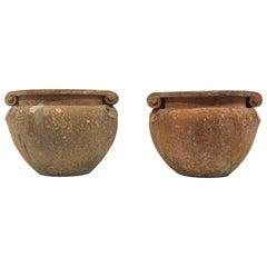 Pair of Terracotta Compton Scroll Pots