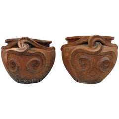 Pair of Terracotta Compton Snake Pots