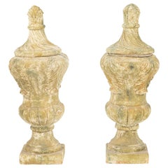 Pair of Terracotta Covered Garden Urns