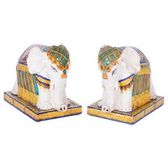 Pair of Terracotta Elephants Ornaments
