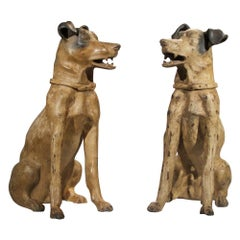 Pair of Terracotta Hounds