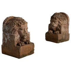 Pair of Terracotta Lions by Adam Mason & Sons, England, circa 1900