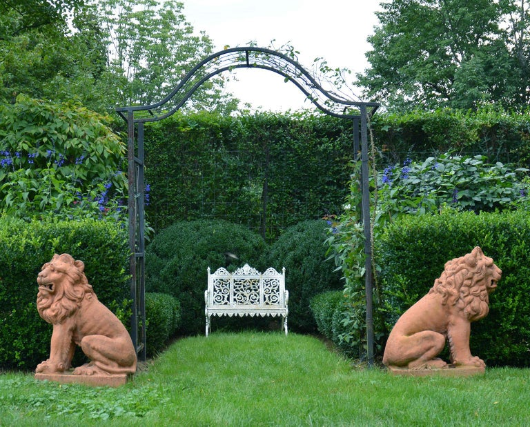 Pair of Terracotta Lions in the French Style 4