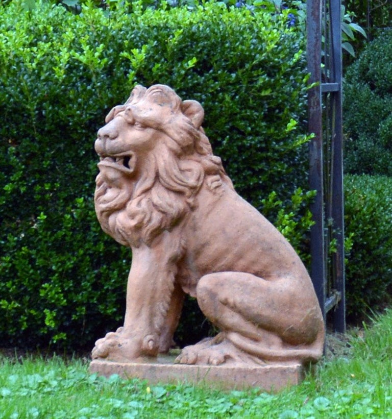 Pair of Terracotta Lions in the French Style 5