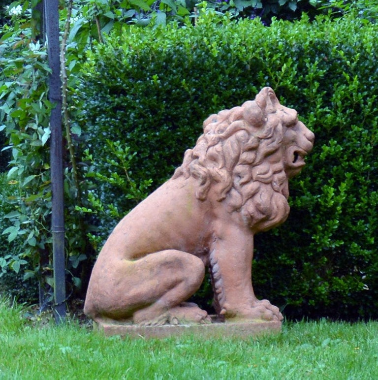 Pair of Terracotta Lions in the French Style 6
