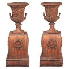 Pair of Terracotta Planters with Terracotta Bases, Italy, Late 19th Century
