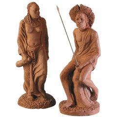 Terracotta Sculptures Massai Woman & Massai Warrior by H. Dullo 'Kenya' Tribal