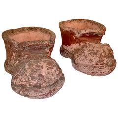 Pair of Terracotta Shoe Planters, circa 1960