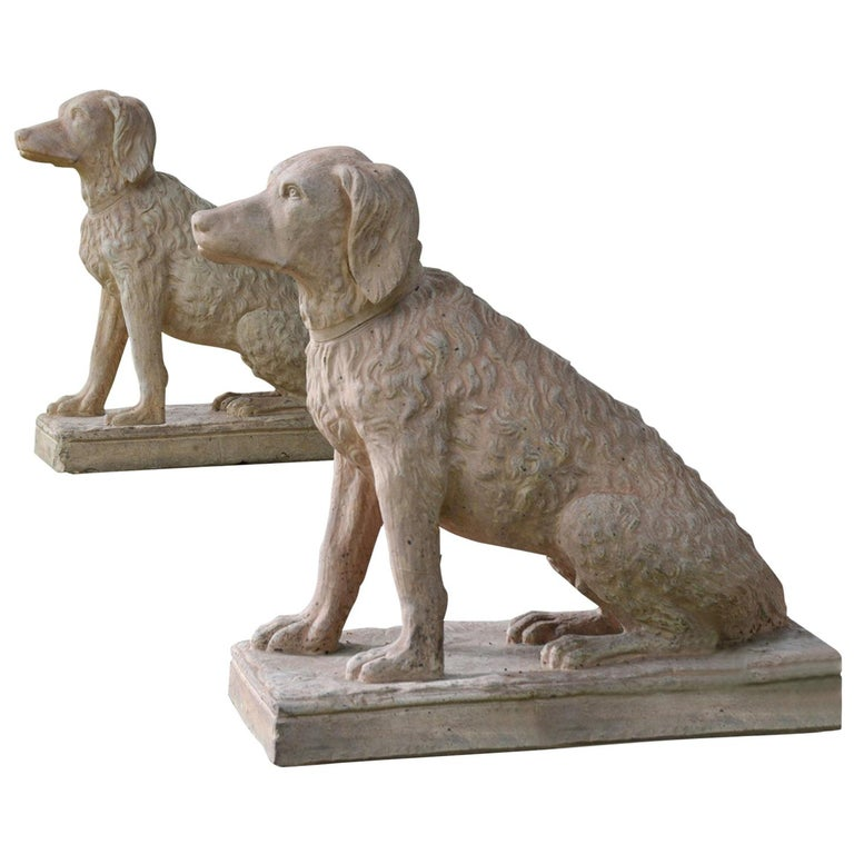 Pair of Terracotta Spaniels For Sale