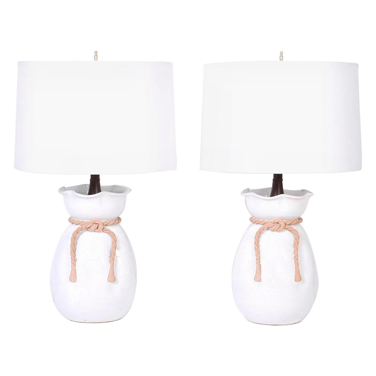 Pair of Terracotta Trompe L'oeil Table Lamps Attributed to Urbano Zaccagnini