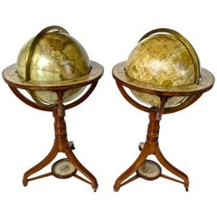 Pair of Terrestrial and Celestial Cary Floor Globes in Mahogany Stands