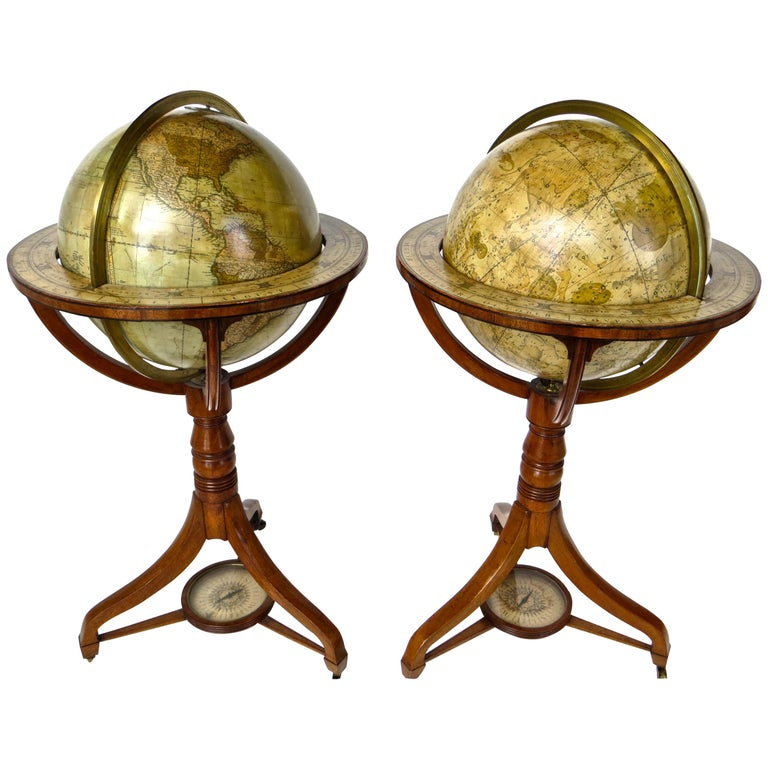 Pair of Terrestrial and Celestial Cary Floor Globes in Mahogany Stands For Sale