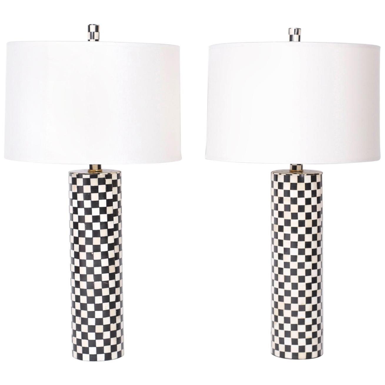Pair of Tessellated Bone Table Lamps