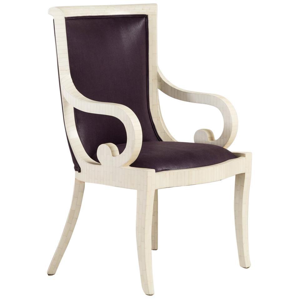 Pair of Tessellated Bone Veneered Dining Chairs, 1970s