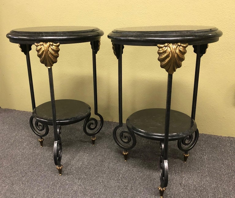 Pair of Tessellated Marble and Brass Two-Tier Side Tables by Maitland Smith For Sale 6