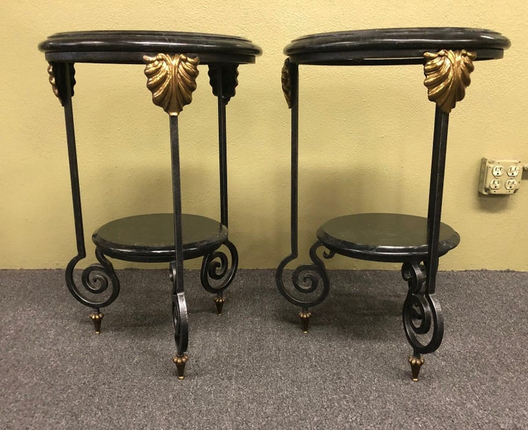Philippine Pair of Tessellated Marble and Brass Two-Tier Side Tables by Maitland Smith For Sale