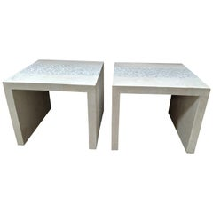 Pair of Tessellated Stone and Trocca Shell Side Tables, 1990s