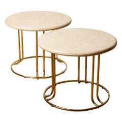 Pair of Tessellated Stone Round Side Tables by Maitland Smith with Brass Bases