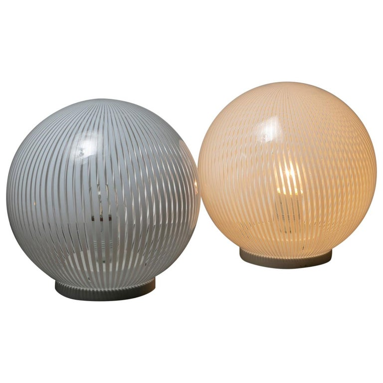 """Pair of """"Tessuto"""" Table Lamps by Venini For Sale"""