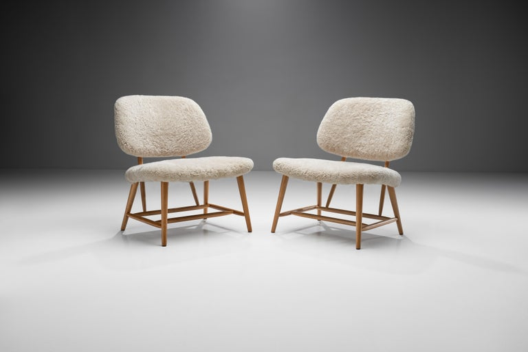 "Swedish Pair of ""TeVe"" Chairs by Alf Svensson for Studio Ljungs Industrier AB, SWE For Sale"