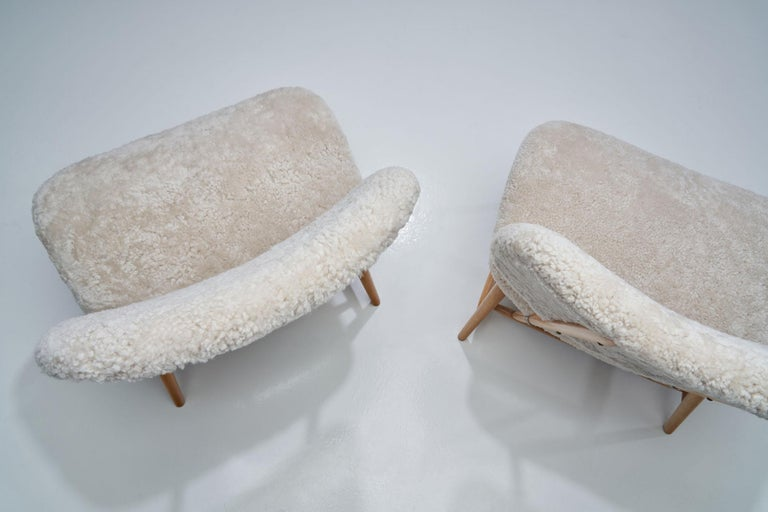 "Sheepskin Pair of ""TeVe"" Chairs by Alf Svensson for Studio Ljungs Industrier AB, SWE For Sale"
