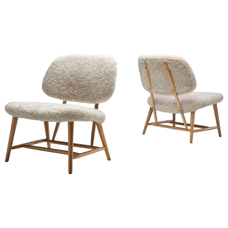 "Pair of ""TeVe"" Chairs by Alf Svensson for Studio Ljungs Industrier AB, SWE For Sale"