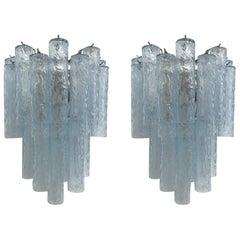 Pair of Textured Blue Tubes Sconces by Fabio Ltd