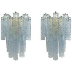 Pair of Textured Blue Tubes Sconces by Fabio Ltd