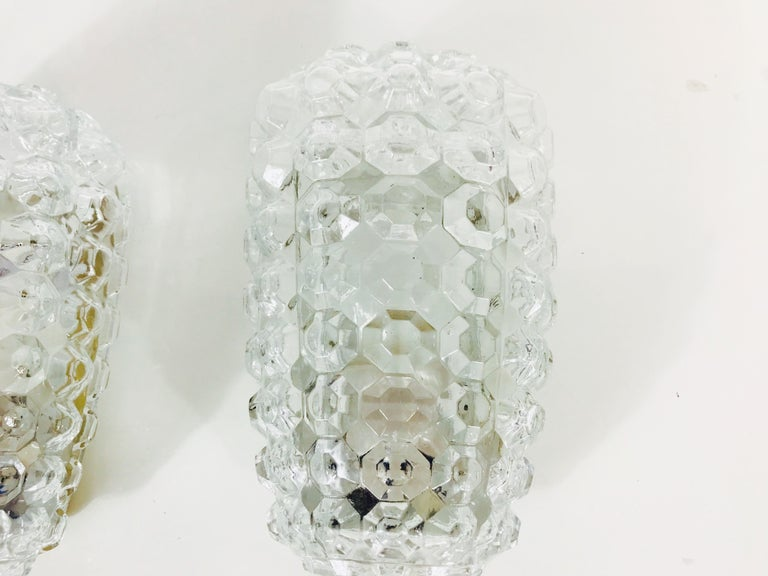 Mid-Century Modern Pair of Textured Crystal Glass Sconces by Glashütte Limburg, 1960s, Germany For Sale