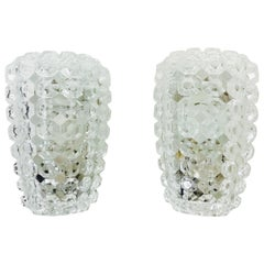 Pair of Textured Crystal Glass Sconces by Glashütte Limburg, 1960s, Germany