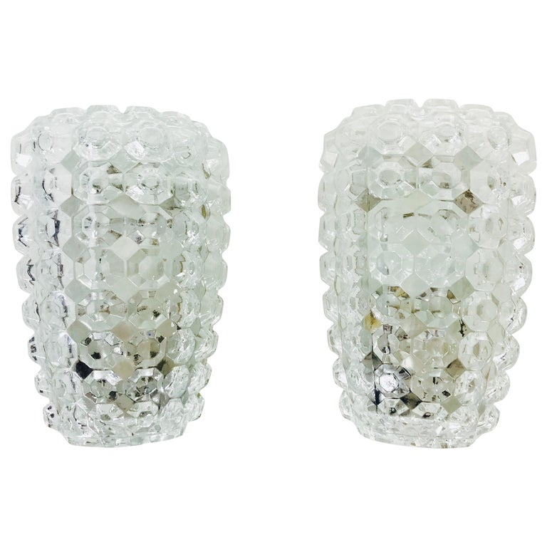 Pair of Textured Crystal Glass Sconces by Glashütte Limburg, 1960s, Germany For Sale