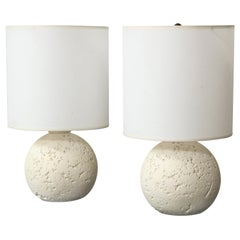 Pair of Textured Custom Circular Plaster Lamps