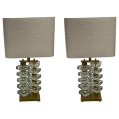 Pair of Thick Textured Glass Lamps, Romania, Contemporary